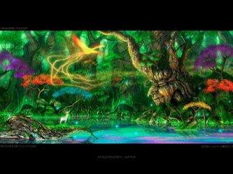 【A4サイズ複製画】聖者たちの住まう森 フェニックスver2の画像