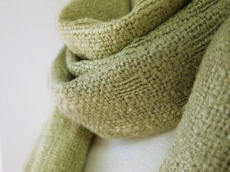 草木染め 手織り グラデーションシルクマフラー(黄緑)の画像