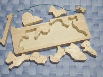 送料無料 木のおもちゃ わんこ釣りの画像