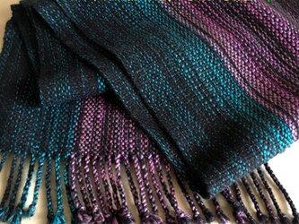 《男女兼用》紫×青グラデのマフラーの画像