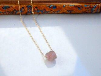 ピンクトルマリン一粒ネックレスの画像
