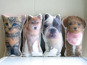 犬 猫 ペット 動物 フレブル クッション ぬいぐるみ インテリア メモリアル プレゼント オーダーメイド 写真 名前 無地の画像