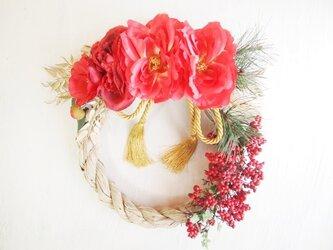 赤が華やかお正月飾り*稲穂1623の画像