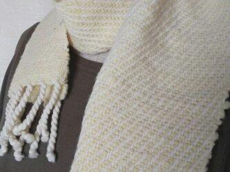 【ホームスパン】草木染 ふっくらあったか手織りミニマフラー 321の画像