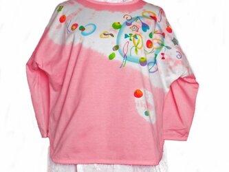 7分袖 ドルマンTシャツ ピンクの画像