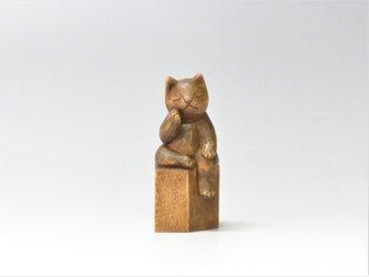 弥勒猫 木彫り 猫仏さまの画像