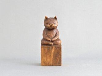 座禅猫 木彫り 猫仏さまの画像