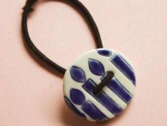 磁器ボタンゴム 丸 キャンドル インディゴの画像