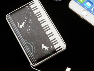 モバイルバッテリー(ねこピアノ)〔ケーブル内蔵・5000mAh〕の画像