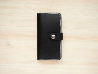 牛革 iPhone 手帳型 ヌメ革 ブラック(XS/X/8/8Plus/7/7Plus/SE/6/6s/6Plus)の画像