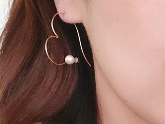 雑誌掲載作品【K14GF】Heart & pearl Shinny pierceの画像