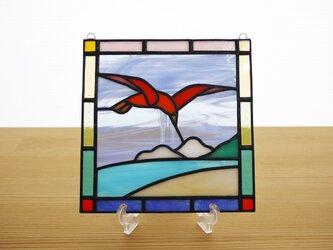 ステンドグラス ミニパネル 鳥 15cmの画像