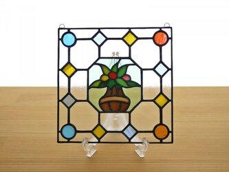 ステンドグラス ミニパネル フラワーポット 15cmの画像