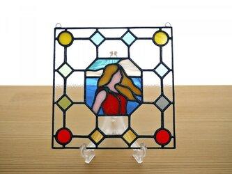 ステンドグラス ミニパネル ポートレイト 海 15cmの画像