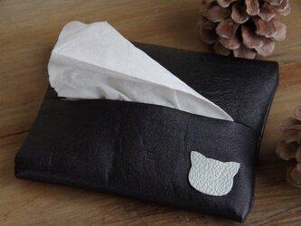 可愛い猫ちゃん革のポケットティッシュケース・黒の画像