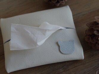 可愛い猫ちゃん革のポケットティッシュケース・白の画像