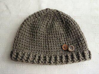 ■受注制作■ボタン付き軽いニット帽(ブラウン)の画像
