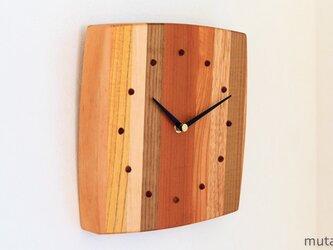 寄せ木の壁掛け時計 曲線14の画像