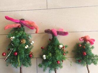 クリスマス直前 ツリー型スワッグ 3個セットの画像