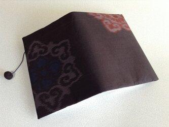 957     ☆再販☆     色大島      大輪青花       文庫サイズブックカバーの画像