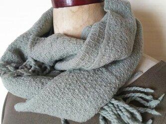 手織りカシミヤワッフル織りマフラー 297の画像
