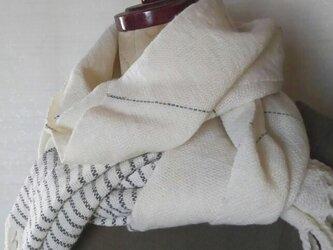 上質ウールの手織りマフラー 307の画像