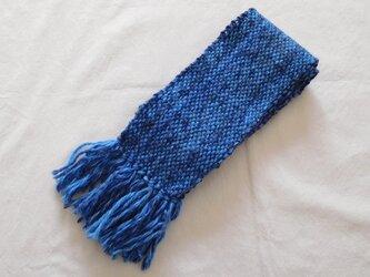ふんわり手織りマフラー ターコイズブルーの画像