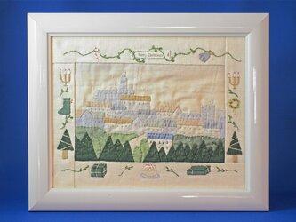森とお城/クリスマス [ニードルワーク額入]の画像