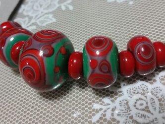 ネックレス(とんぼ玉)~くまやしき赤系の画像