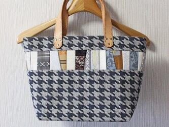 博多織×デニムトートバッグ「連」S ブラック グレー 千鳥格子柄×レザー(LT-28)の画像