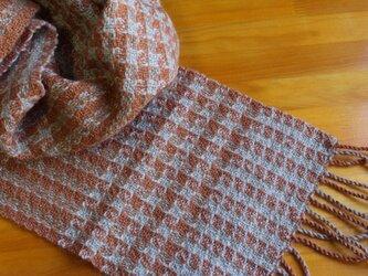 手織のマフラー 樺色(かばいろ)-1の画像