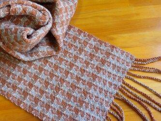 手織のマフラー 樺色(かばいろ)-2の画像