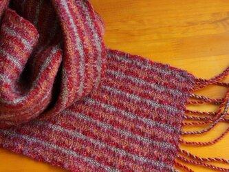 手織のマフラー 赤紅(あかべに)の画像