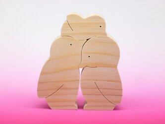 送料無料 木のおもちゃ 動物組み木 ペンギンの家族の画像