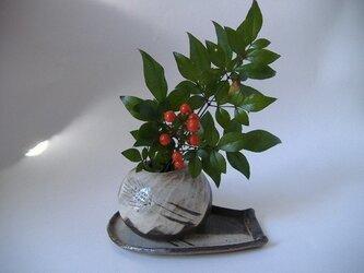 花器にも使える、麦穂文様楊枝入れ(受け皿付)の画像
