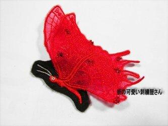 ★☆アップリケ★刺繍ワッペン★赤い蝶★アイロン接着可☆★の画像