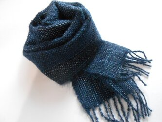 手織りミニマフラー(藍)の画像