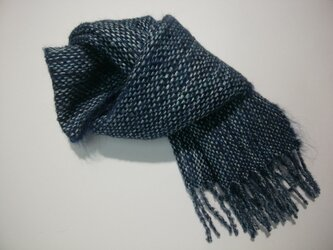 手織りミニマフラー(藍2)の画像