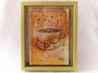 『月と珈琲と、、、』油彩画 額装品の画像