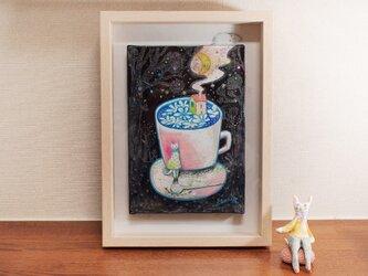 『月と珈琲-シロハナ』油彩画 額装品の画像