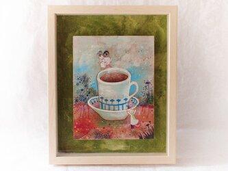 『豆猫と或るカフェの秘密』アクリル画 額装品の画像