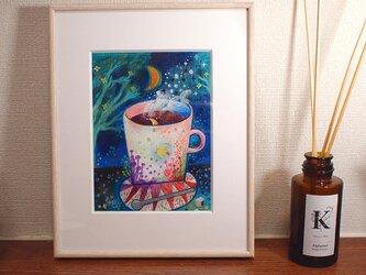 『月と珈琲-檸檬鳥』油彩画 額装品の画像