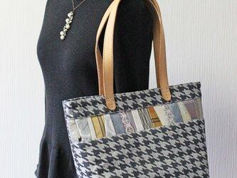 博多織トートバッグ「連」M ブラック グレー 千鳥格子柄×ベージュレザー(LT-40)の画像