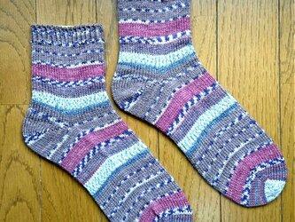 手編み靴下opal KFS114 おばあちゃんの笑顔の画像