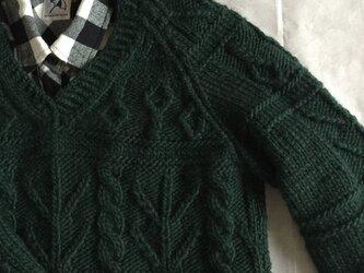 暖暖極太ガンジー模様セーター (F様受注)の画像