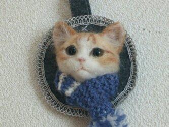 チャトラ*マフラー猫のオーナメントの画像