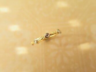 K18YG・WG Halo Dia Ringの画像