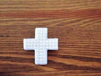 刺繍ブローチ 「クロス:ホワイト」の画像