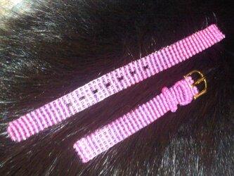 ビーズ織の時計ベルト(10mm) きゅんピンク! その2の画像