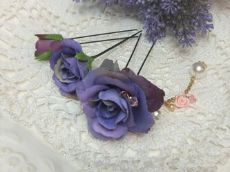 花かんざし(Uピン)スィートローズ チャーム☆*:バイオレットの画像
